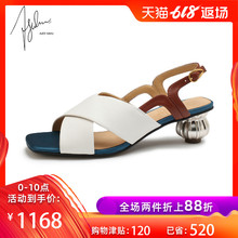 Pre-sale AJOY SAHU 2019 New Sandals Women's Summer Rough-heeled Shoes Retro-vintage Women's Shoes