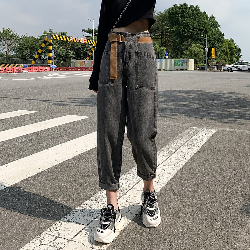 Daddy plus-down jeans with a high waist and a thin straight straight loose-fitting 蔔 new model for Harlan Autumn Winter 2020