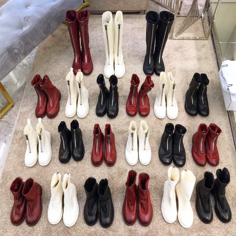 Abao guidi ghost emperor net red leather front zipper Martin boots female autumn and winter plus velvet white short boots inverted boots 310