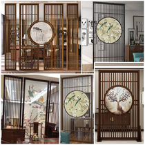 New Chinese modern living room cubicle Xuanguan hollow carved board solid wood decorative fence transparent screen custom