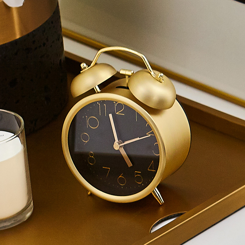 Bencross Japanese and Korean Cute Metal Alarm Clocks Creative Quiet Fashion Digital Student Bedside Alarm Clocks Simple