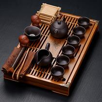 Purple sand ceramic Gongfu tea set Household teacup Simple office solid wood small tea tray Drawer type tea table set