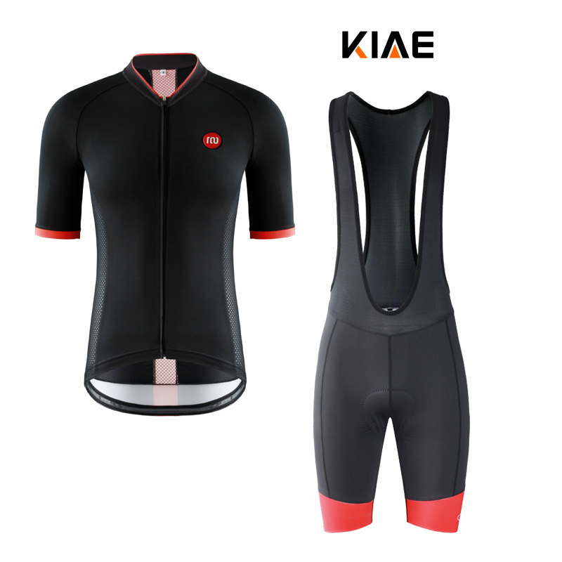 KIAE short-sleeved short-sleeved short-sleeved short-sleeved black-red highway mountain bicycle cycling suit for men and women