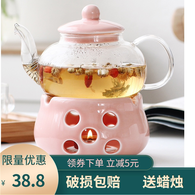 Ceramic flower teapot color glazed flower teacberry with glass flower grass fruit fruit teapot heat-resistant candle heating set