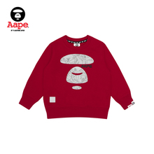 AAPE children's clothing autumn and winter line camouflage ape color contrast letter printing Pullover and plush sweater 3666xxd