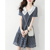 Canary Kiss floral dress female 2021 new summer temperament doll collar short-sleeved age-reducing midi dress