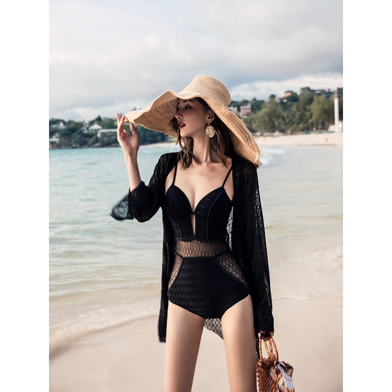 DK sexy swimsuit female one piece fairy fan Xiaoxiong gathers in hot spring to cover the stomach Triangle Bikini ins wind swimsuit