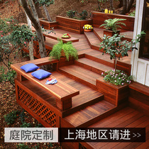 Antiseptic Wood Floor Outdoor Terrace Carbonized Wood Courtyard Villa Courtyard Solid Wood Grape Frame Fence Installed in Shanghai