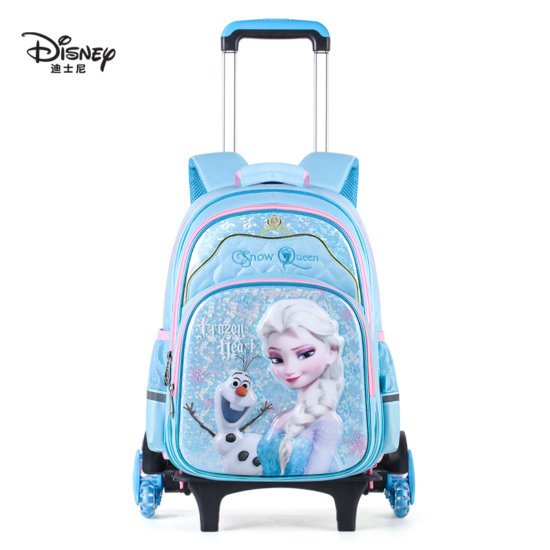 Disney Children's Pull-rod Backpack Girls 1-3-5-6 Grades Lovely Ice and Snow Qiyuan Primary School Pupils Pull-rod Backpack