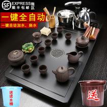 The whole set of tea sets Household living room automatic induction cooker teacup tea table Solid wood tea plate one tea sea simple