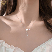 Cherry blossom necklace 2021 new womens forest department small fresh fairy pendant light luxury niche simple sterling silver clavicle chain