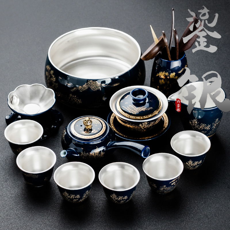Qin Yiyu blue glazed blue porcelain silver cover bowl teacourse set pure silver tea set home simple living room side put teapot