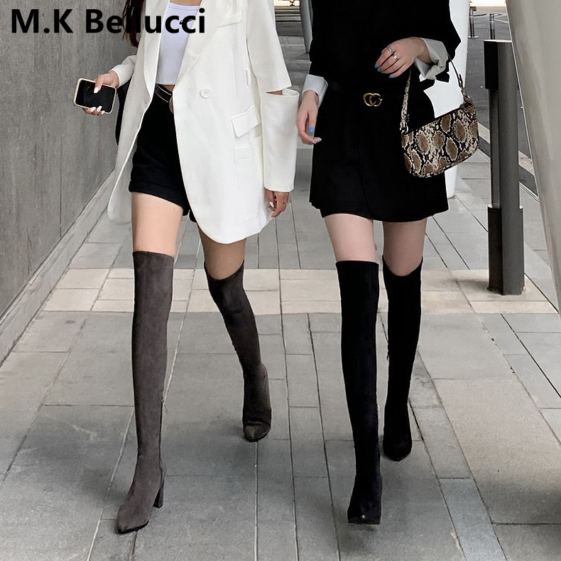 Over-the-knee boots women's 2020 new spring and autumn elastic thin boots thick heel high-tube long-tube small boots women's boots