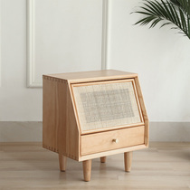 Japanese style creative bedside cabinet B & B wind solid wood rattan bed cabinet simple modern small apartment storage cabinet Nordic