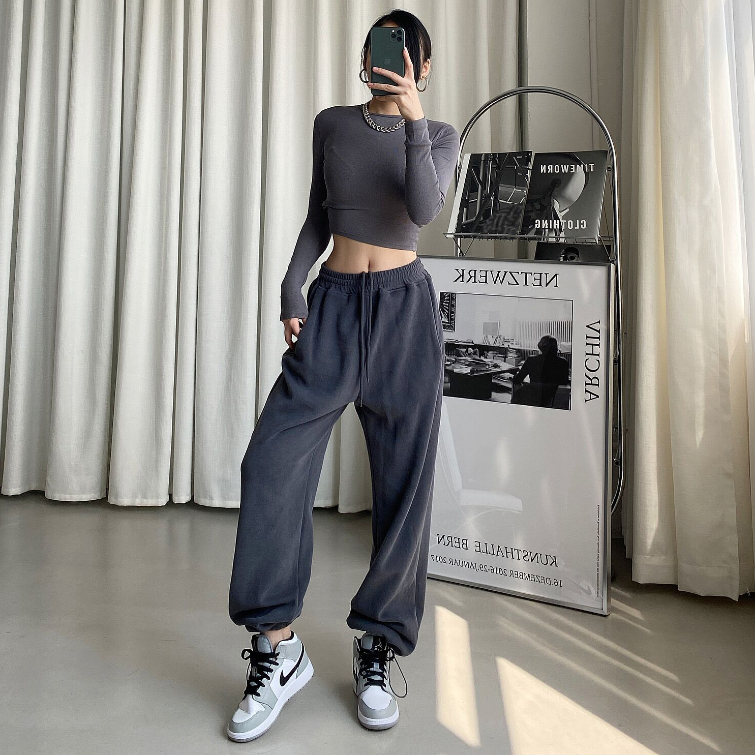 DQSTORE Europe and the United States new high-waist drawstring loose and thin waist and velvet sports casual pants harem pants women