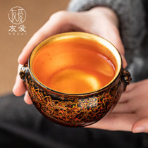 Friendship lacquer host cup gilt gold pure silver kung fu gift couple on cup small tea cup sample tea cup