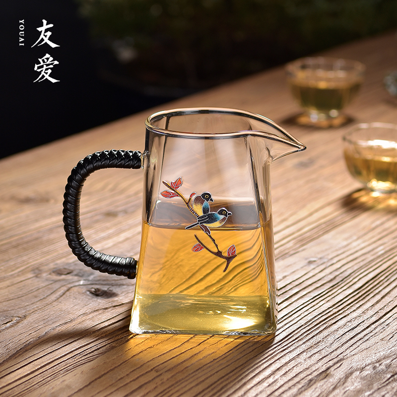 Love Jingtai Blue Fairway Cup high-grade quartet glass public cup large-capacity thickened heat-resistant crystal tea set