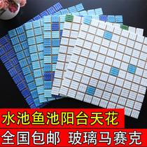 Pool glass mosaic pool fish pond tiled blue-white indoor sundeck ceiling outside 墻 brick non-slip home