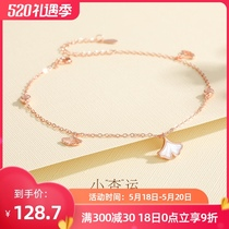 Anklet female sterling silver 2021 new ins fashion niche design Sen tie leg chain fairy net red womens foot jewelry