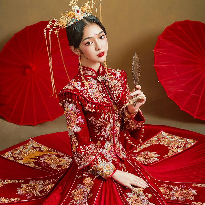 Xiuhe clothing 2021 new wedding bride clothing Chinese wedding dress couple show kimono large size dragon and phoenix coat 2020 summer
