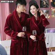 Pajamas female autumn and winter thickened coral velvet bathrobe male couple bathrobe long section wine red flannel robe female Winter