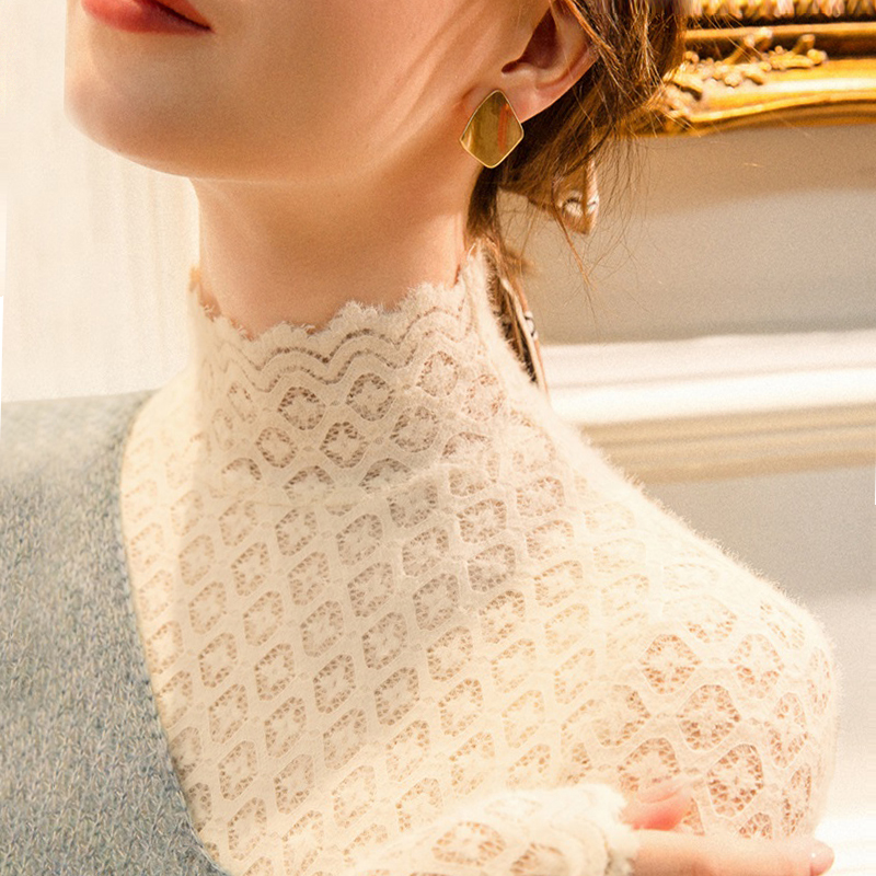 High-necked woolly lace bottoms womens autumn winter ancient yang pie with plush thick with sweater mesh yarn top