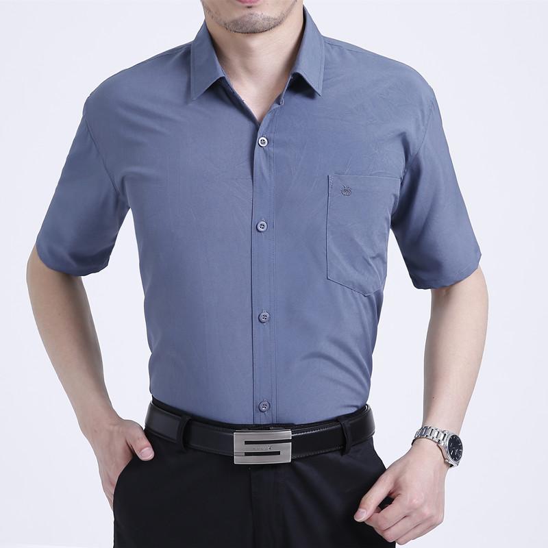 Áo sơ mi nam, thiết kế ngắn tay tinh tế, vải mỏng thoải mái mát mẻ, phù hợp với người trung niên
