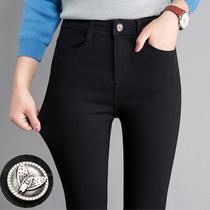 Leggings en dehors de la femelle porter mince modèles 2019 Printemps Et Automne Hiver Nouveau sauvage importante mince Pieds Taille Haute plus de velours noir crayon pantalon