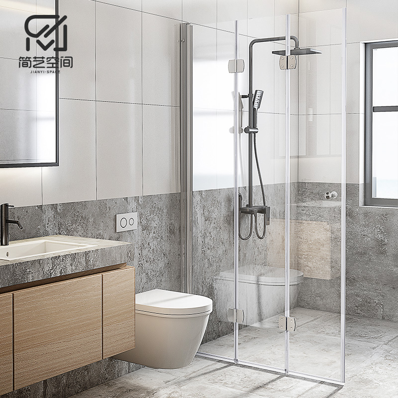 Jane Art Shower Room Three-fold Bathroom Glass Door Bathroom Dry-wet Separation Isolation Internal Push-fold Floor Screen