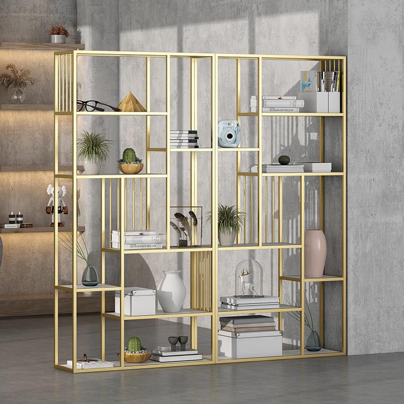 Iron partition shelf Nordic bookshelf simple creative floor-to-ceiling light luxury screen living room modern display cabinet