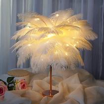 INS девичья спальня прикроватная лампа теплая маленькая настольная лампа скандинавская романтическая творческая лампа пера свадебная комната чистая красная лампа