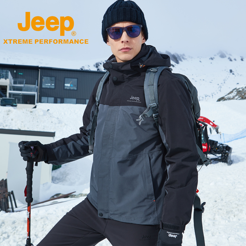 Jeep stormtrooper mens three-in-one two-piece set removable plush thick outdoor mens waterproof climbing jacket tide