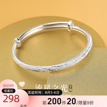 Starry 999 sterling silver bracelet female summer young section old wind Xiang foot silver bracelet Silver decoration Tanabata gift to girlfriend