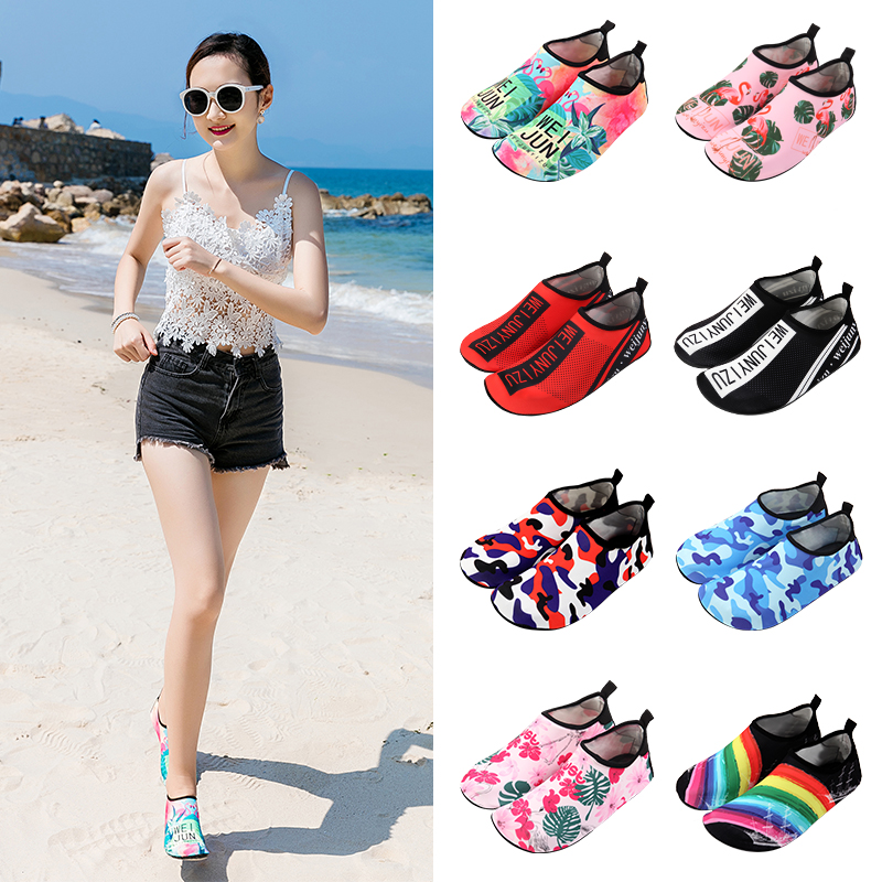 Adult beach socks shoes female breathable non-slip soft rubber sole snorkeling shoes parent-child summer swimming quick-drying diving upstream shoes