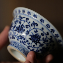 Guanfu Museum flagship store hand-painted blue and white Yongle pressure hand cup Jingdezhen tea cup Ceramic tea cup Master cup