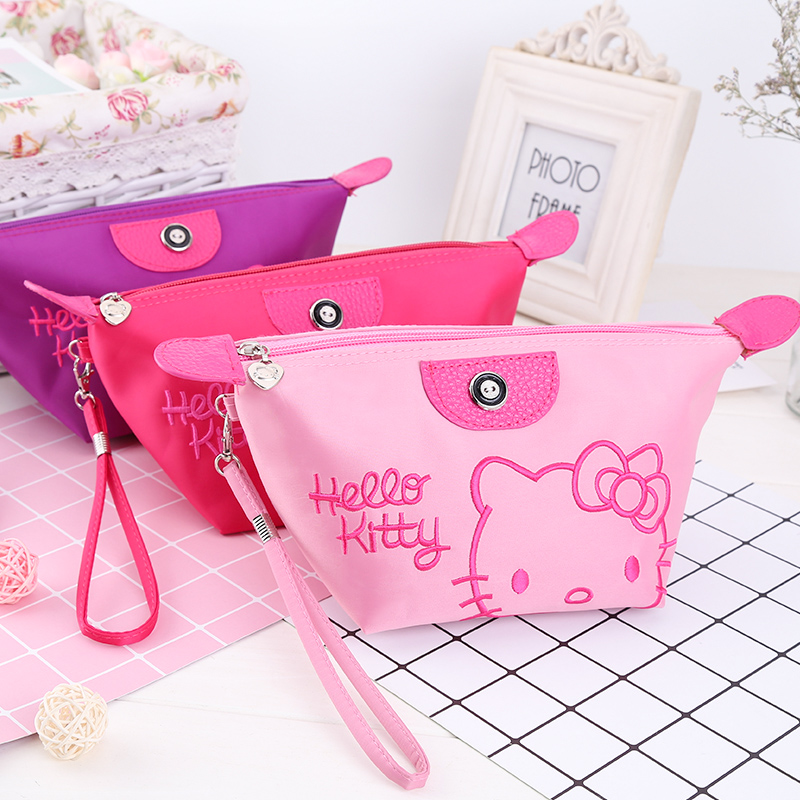Kitty Travel Pickup Bag Cartoon Cute PU Collection Bag Trumpet will hand in hand with the makeup bag waterproof wash bag