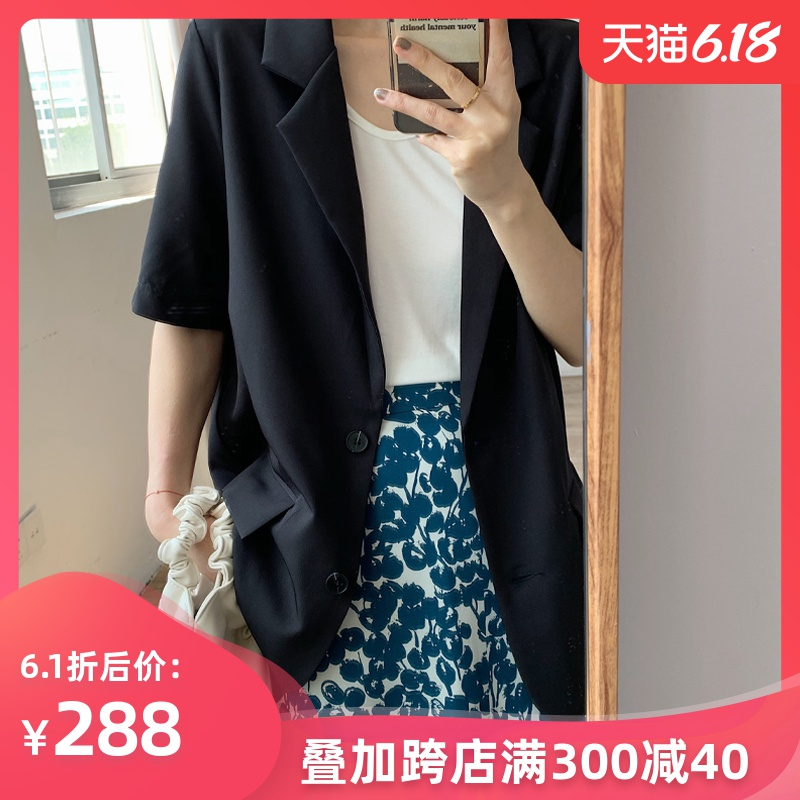 Short sleeve Blazer women's summer Korean retro thin top black loose drape quality suit coat
