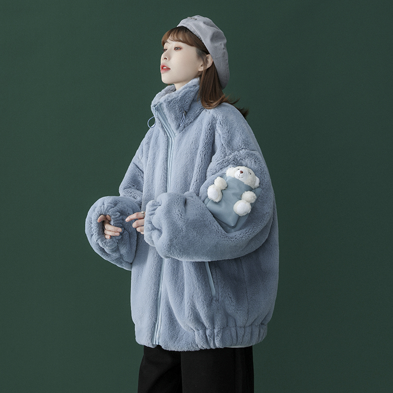 Soft sister milk blue cotton clothing womens short 2020 new foreign lamb hair plus velvet sweet cotton coat