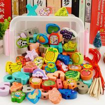 Деревянные детские игрушки обучающая сила бисероплетение младенцев и детей продетые нитку строительные блоки 2-3-6 лет половинки мужчины и женщины дети 1