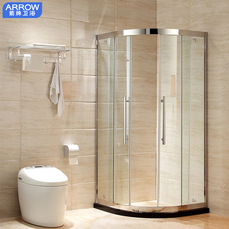 Wrigley integral shower room 304 stainless steel arc sector shower household tempered glass integral bathroom shower room