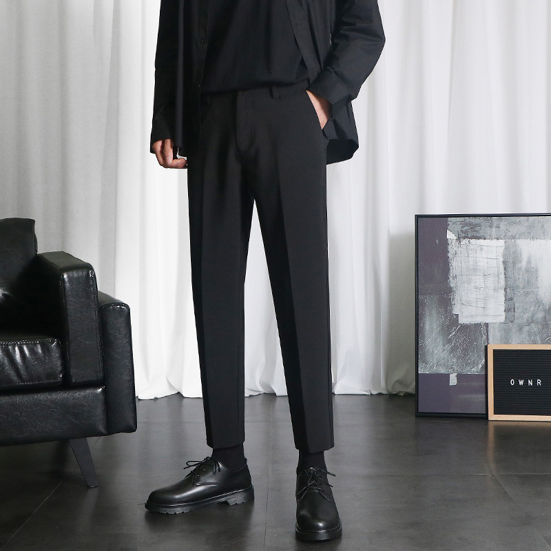 Small trousers men's drape nine-point pants Korean version of the trend of self-cultivation feet casual pants men's autumn and winter straight suit