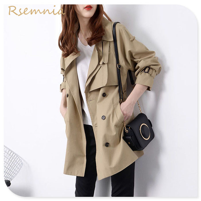 Rsemnia Spring 2021 chic loose classic and a long-legged small windshield womens coat