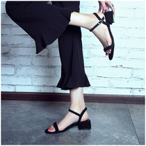 Word belt sandals female peep toe Korean version of the wild rough with high heels female with summer New Black Roman shoes female