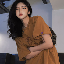 AE6604 brown 2021 new summer sweet cool t-shirt womens national tide high street pure cotton top loose couple short sleeves