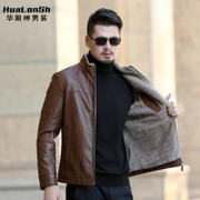 Autumn and winter with the new cashmere leather coat collar middle-aged male thick leather jacket warm fur coat with Dad