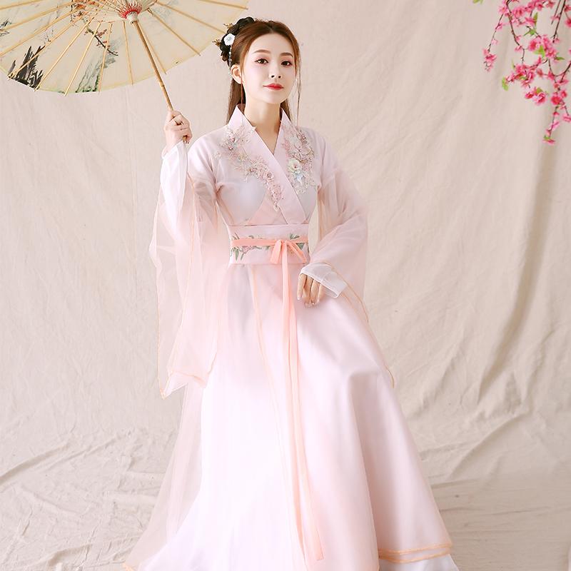 Costume womens improved Hanfu fairy elegant ancient style wide sleeve dance performance dress collar waist dress full set of spring and summer
