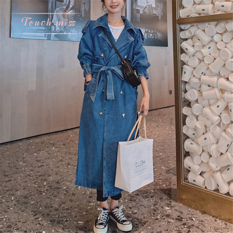 TOUCH MISS Autumn Winter Korean version of fashion casual loose show thin bf wind medium long version denim windshield jacket woman