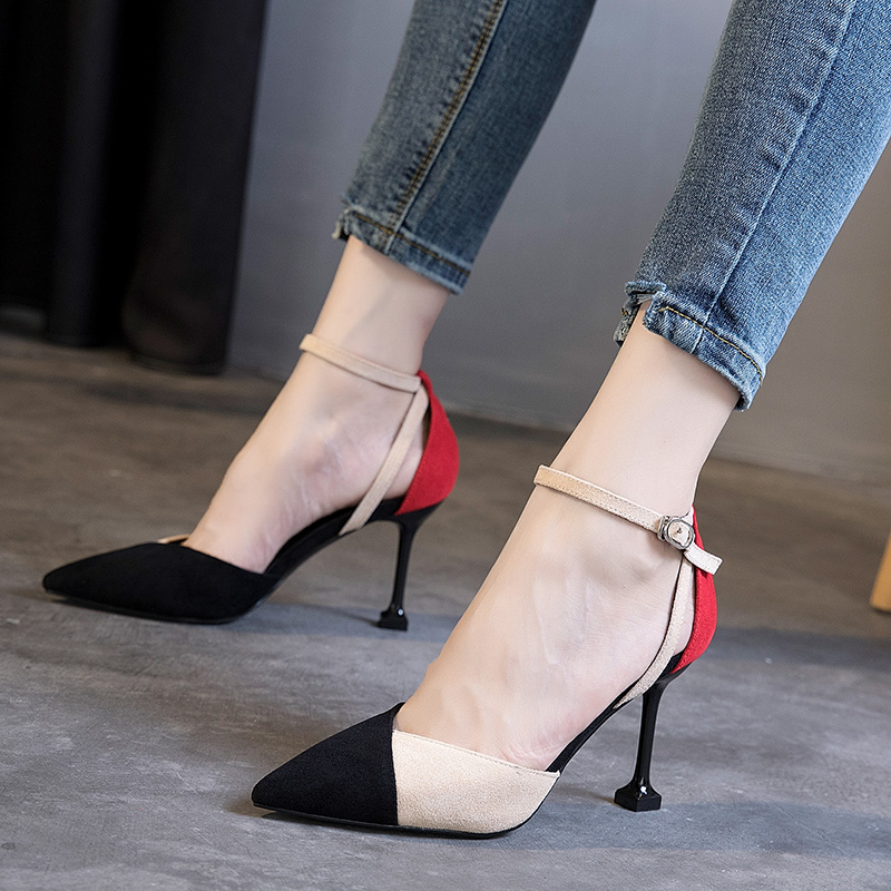 One word button high heel shoes fashion matching color net red single shoe tremble fine-heeled fresh women's shoes Baitie cat heel 5CM