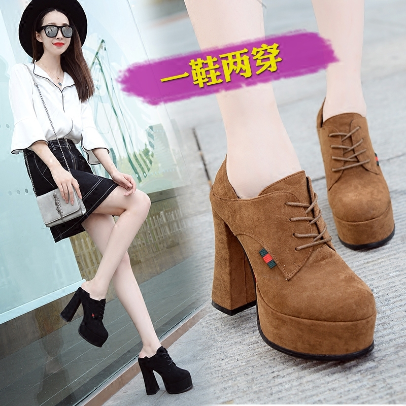 Rouran women's shoes 2018 autumn new waterproof platform high with two wear low shoes fashion wild casual thick with single shoes