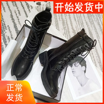Martin boots 2019 New Black wild British wind tube thick with the locomotive increased boots spring and autumn single boots